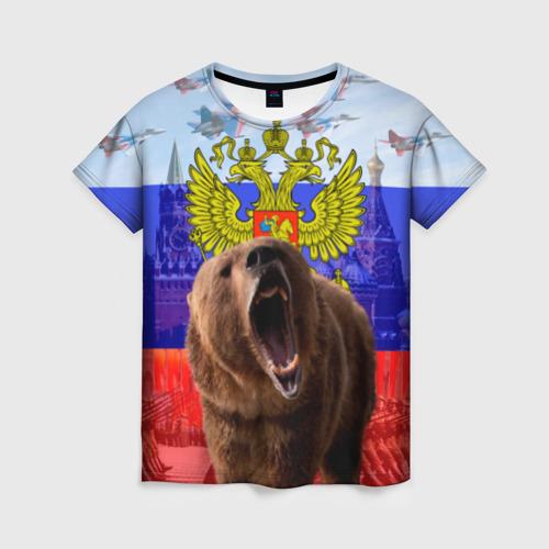 Женская футболка 3D Русский медведь и герб