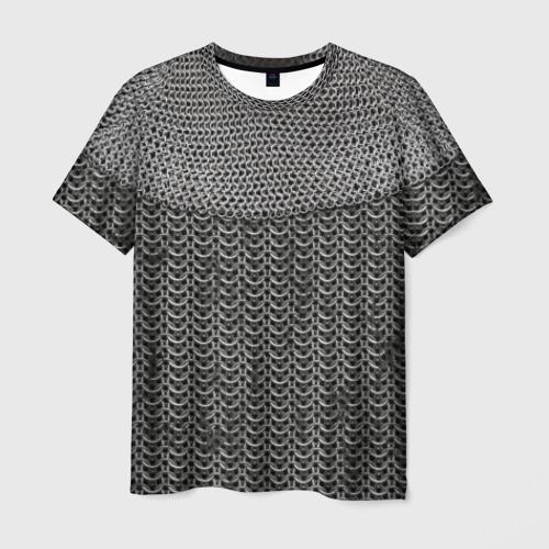 Мужская футболка 3D Кольчуга с горловиной