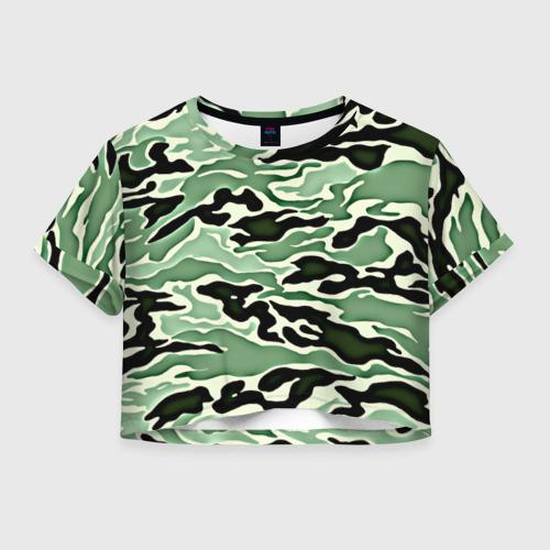 Женская футболка Crop-top 3D Камуфляж