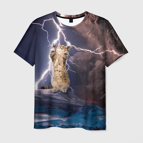 Мужская футболка 3D Кот и молния