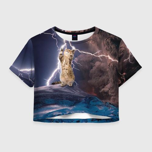 Женская футболка Crop-top 3D Кот и молния