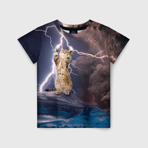 Детская футболка 3D Кот и молния