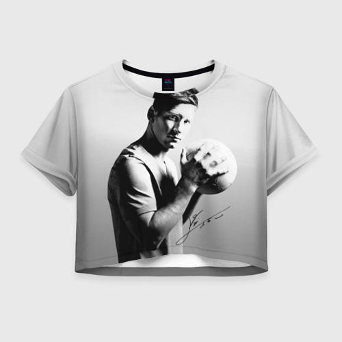 Женская футболка Crop-top 3D Лионель Месси
