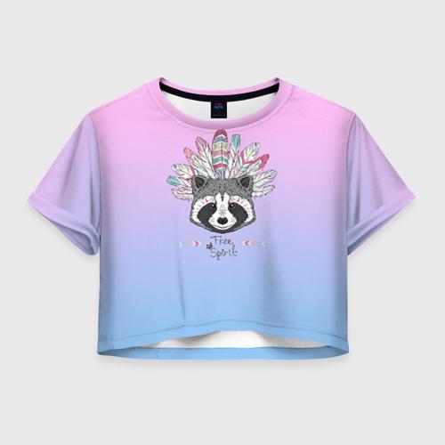 Женская футболка Crop-top 3D Енот