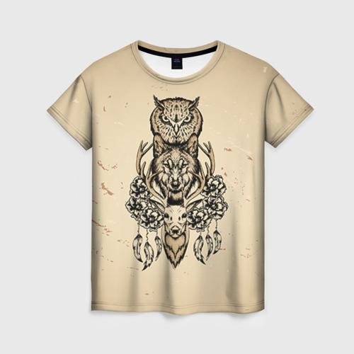 Женская футболка 3D Животные