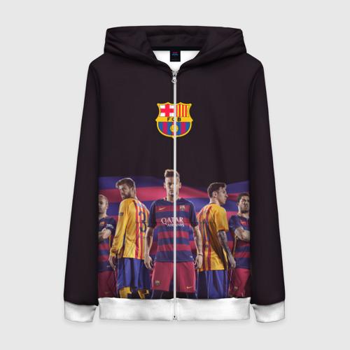 Женская толстовка 3D на молнии ФК Барселона