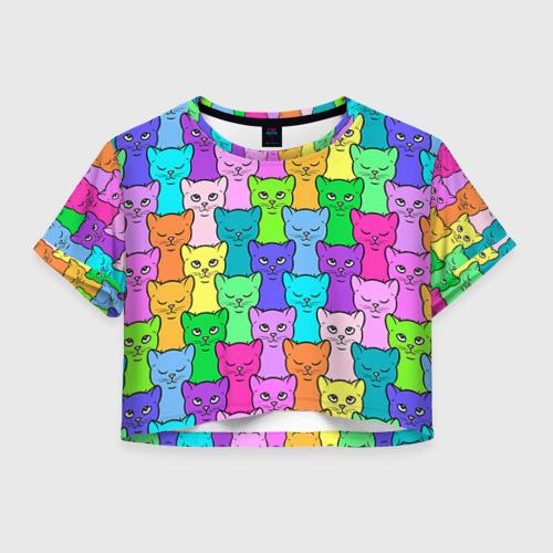 Женская футболка Crop-top 3D Котятушки
