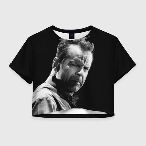 Женская футболка Crop-top 3D Брюс Уиллис