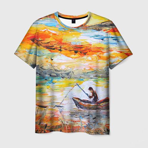 Мужская футболка 3D Рыбак на лодке