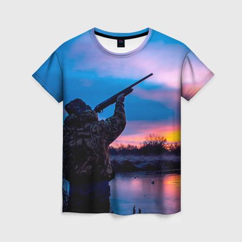 Женская футболка 3D Охотник