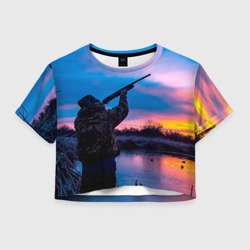 Женская футболка Crop-top 3D Охотник
