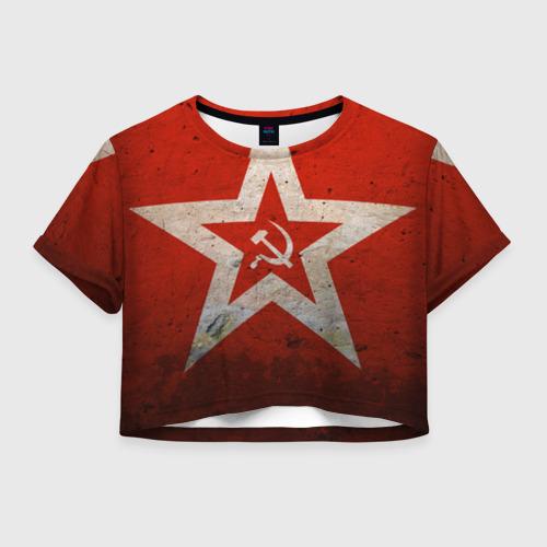 Женская футболка Crop-top 3D Серп и Молот