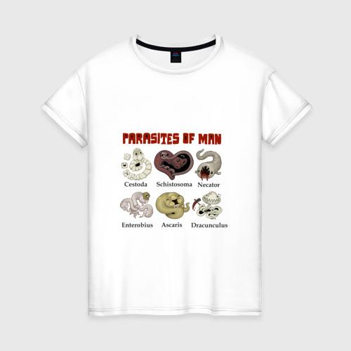 Женская футболка хлопок Паразиты человека