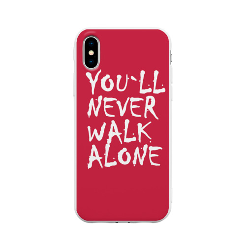 Чехол для iPhone X матовый YOU`LL NEVER WALK ALONE