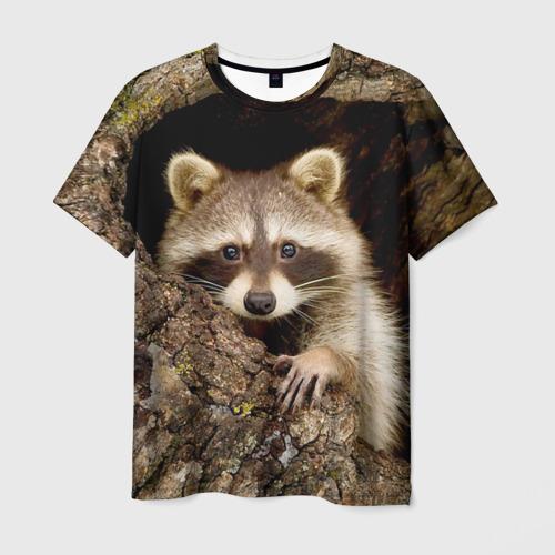 Мужская футболка 3D Енот
