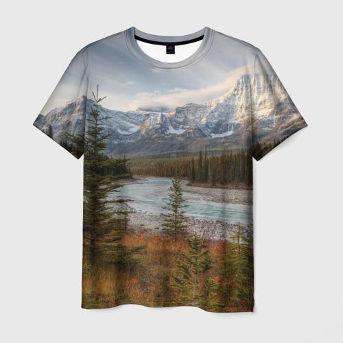 Мужская футболка 3D Осень в горах