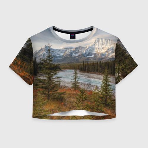 Женская футболка Crop-top 3D Осень в горах