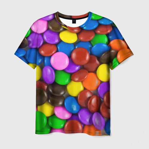 Мужская футболка 3D Цветные конфетки
