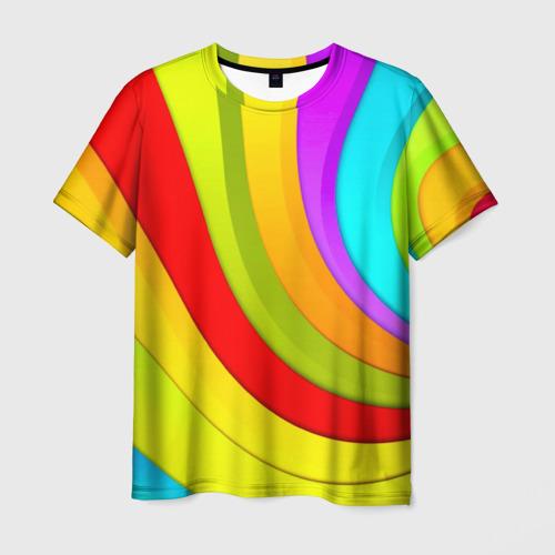 Мужская футболка 3D Радуга