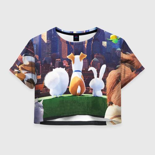 Женская футболка Crop-top 3D Домашние животные
