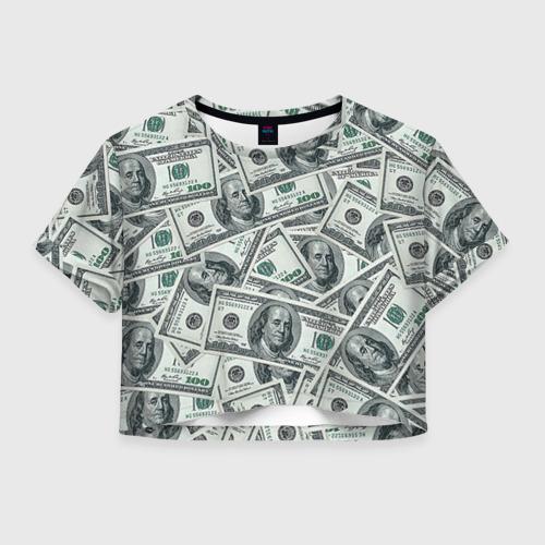 Женская футболка Crop-top 3D Банкноты