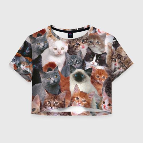 Женская футболка Crop-top 3D Котики