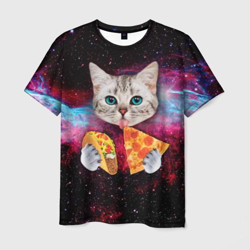 Мужская футболка 3D Кот с едой