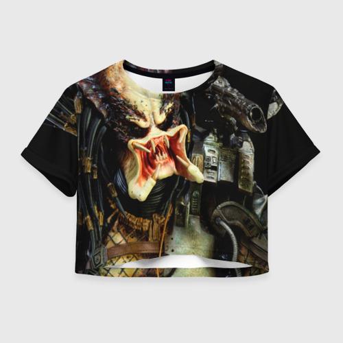 Женская футболка Crop-top 3D Чужой