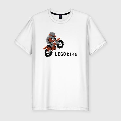 Мужская футболка хлопок Slim Лего мотоцикл