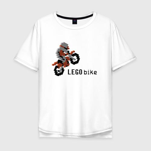 Мужская футболка хлопок Oversize Лего мотоцикл