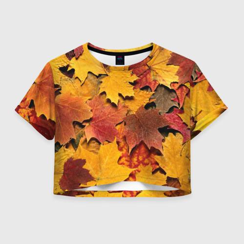 Женская футболка Crop-top 3D Осень на дворе