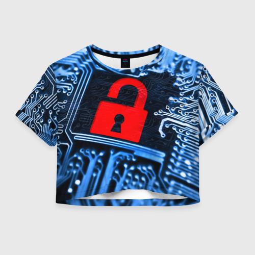 Женская футболка Crop-top 3D Микросхема