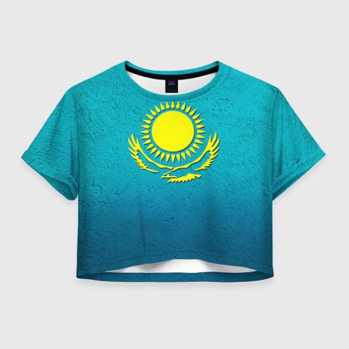Женская футболка Crop-top 3D Флаг Казахстана