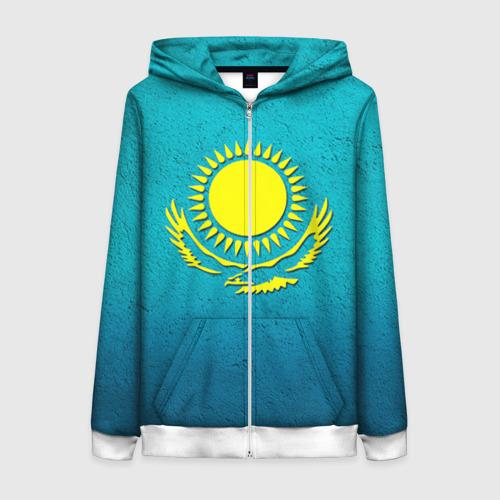 Женская толстовка 3D на молнии Флаг Казахстана