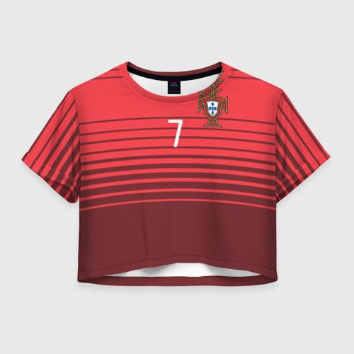 Женская футболка Crop-top 3D Роналду сборная Португалии
