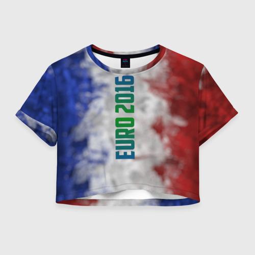Женская футболка Crop-top 3D Евро 2016 Франция