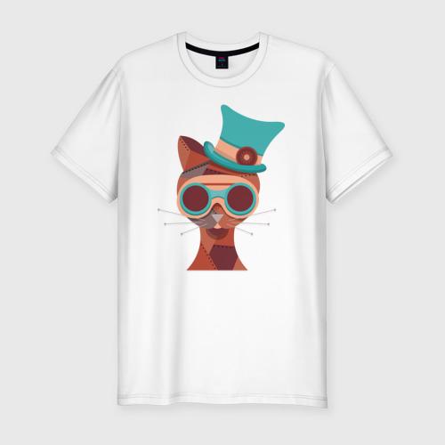Мужская футболка хлопок Slim Кот в стиле Стим Панк