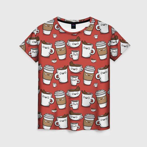 Женская футболка 3D Веселые чашки кофе
