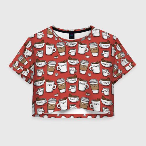 Женская футболка Crop-top 3D Веселые чашки кофе