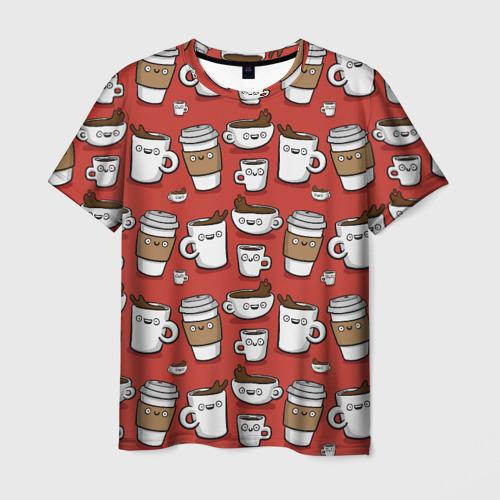 Мужская футболка 3D Веселые чашки кофе