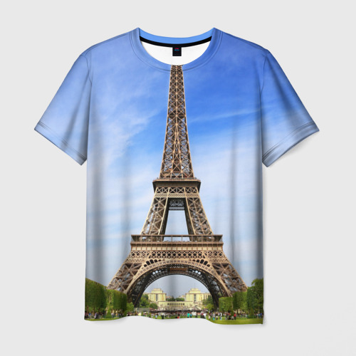 Мужская футболка 3D Эйфелева башня