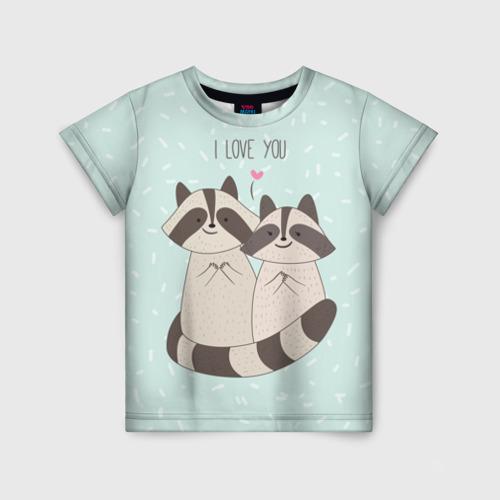 Детская футболка 3D Влюбленные еноты
