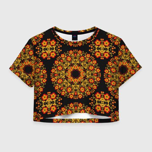 Женская футболка Crop-top 3D Хохлома Роспись