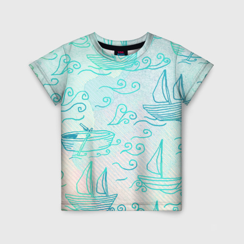 Детская футболка 3D Лазурные корабли