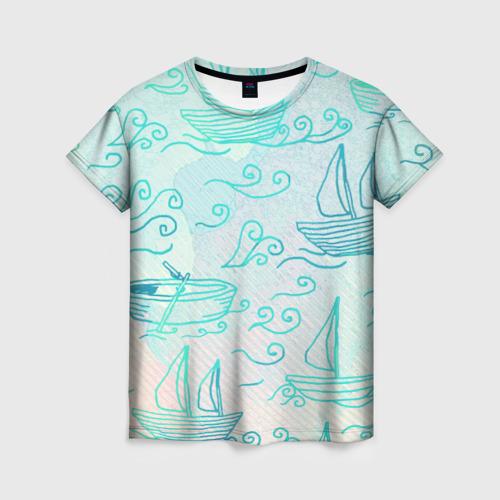 Женская футболка 3D Лазурные корабли