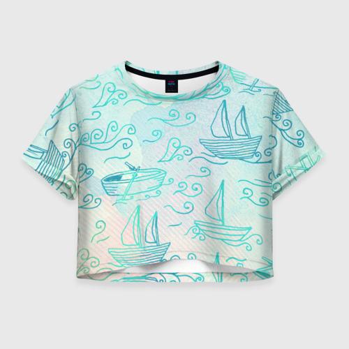 Женская футболка Crop-top 3D Лазурные корабли