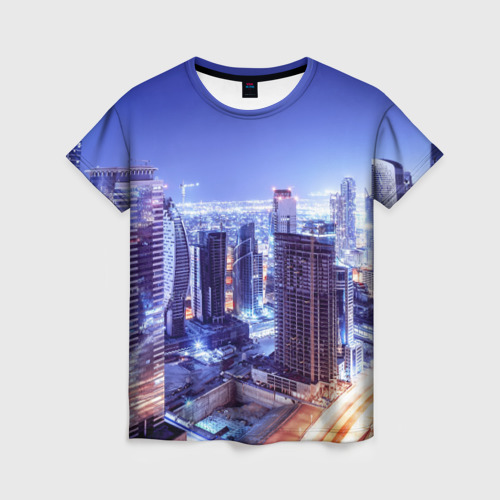 Женская футболка 3D Ночной Дубай