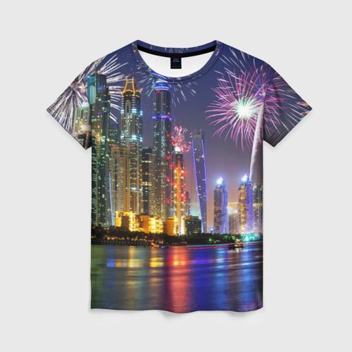 Женская футболка 3D Салют в Дубае