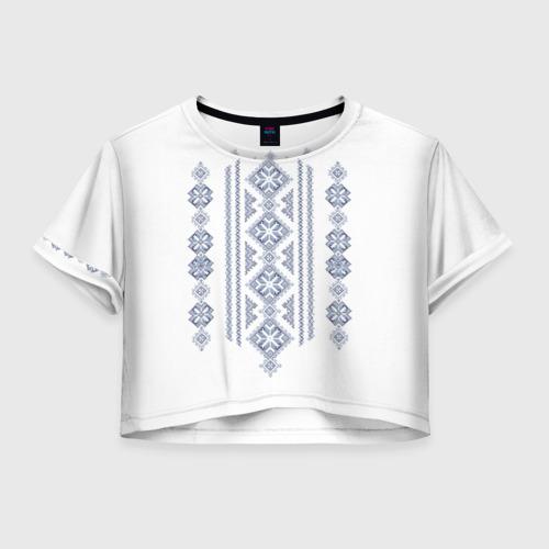 Женская футболка Crop-top 3D Вышивка 24