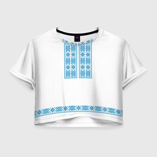 Женская футболка Crop-top 3D Вышивка 32
